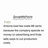 Google, Arizona, and Cent: oogleMy Facts  google my facts  Facts  Arizona iced tea costs 99 cents  because the company spends no  money on advertising and finds  safe ways to cut production  costs. Tag friends that like Arizona 😋