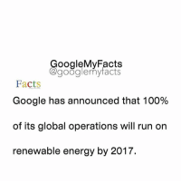Energy, Google, and Globalization: oogleMy Facts  google my facts  Facts  Google has announced that 100%  of its global operations will run on  renewable energy by 2017. Tag friends 😊