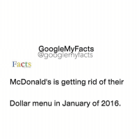 Facts, Friends, and Google: oogleMy Facts  google my facts  Facts  McDonald's is getting rid of their  Dollar menu in January of 2016. Tag friends 😱