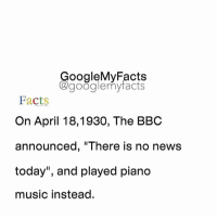 "Facts, Google, and Music: oogleMy Facts  google my facts  Facts  On April 18,1930, The BBC  announced, ""There is no news  today"", and played piano  music instead. Share your battery % 🔋🔌🏃"