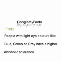 Facts, Google, and Alcohol: oogleMy Facts  google my facts  Facts  People with light eye colours like  Blue, Green or Grey have a higher  alcoholic tolerance. Tag friends🙄
