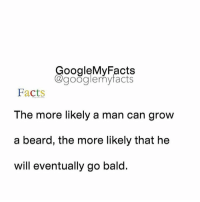 Beard, Facts, and Google: oogleMy Facts  google my facts  Facts  The more likely a man can grow  a beard, the more likely that he  will eventually go bald. Tag friends😊