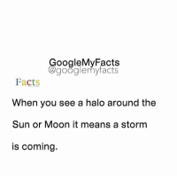 Share your time 🙄: oogleMy Facts  google my facts  Facts  When you see a halo around the  Sun or Moon it means a storm  is coming. Share your time 🙄