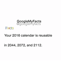 Google, Calendar, and Googleable Facts: oogleMy Facts  google my facts  Facts  Your 2016 calendar is reusable  in 2044, 2072, and 2112. Share your time 😊