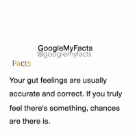 Tag friends 😊: oogleMy Facts  google my facts  Facts  Your gut feelings are usually  accurate and correct. If you truly  feel there's something, chances  are there is. Tag friends 😊