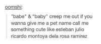 "Name Called: oomsh  ""babe"" & ""baby"" creep me out if you  wanna give me a pet name call me  something cute like esteban julio  ricardo montoya dela rosa ramirez"