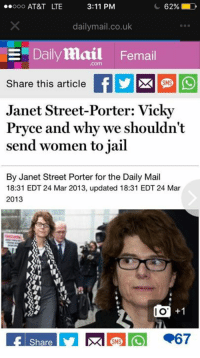 dailymail.co.uk: ooo AT&T LTE  3:11 PM  62%;  dailymail.co.uk  Dailymail Femail  .com  Share this article EDEE  Janet Street-Porter: Vicky  Pryce and why we shouldn't  send women to jail  SMS  By Janet Street Porter for the Daily Mail  18:31 EDT 24 Mar 2013, updated 18:31 EDT 24 Mar  2013  I O  +1  Share  SMS