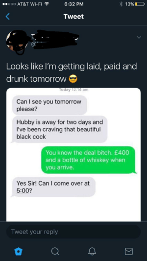 You Know The Deal Bitch: ooo AT&T Wi-Fi ?  6:32 PM  1 3%)  Tweet  Looks like l'm getting laid, paid and  drunk tomorrow  oday 12:14 am  Can I see you tomorrow  please?  Hubby is away for two days and  I've been craving that beautiful  black cock  You know the deal bitch. £400  and a bottle of whiskey when  you arrive.  Yes Sir! Can I come over at  5:00?  Tweet your reply You Know The Deal Bitch