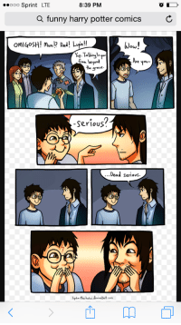 Funny Harry: ooo Sprint LTE  8:39 PM  a funny harry potter comics C  Wou!  Ow  Yp. Talking t  on beyond  Are  you  You  rave.  0  0  Serious?  Dead serious.  lydia-the-hobo deviantart.com