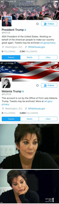 Funny, Melania Trump, and T-Mobile: ooo T-Mobile  9:10 AM  Follow  President Trump  @POTUS  45th President of the United States. Working on  behalf of the American people to make our country  great again. Tweets may be archived  wh.gov/privacy  9 Washington, D.C. S WhiteHouse.gov  FOLLOWING  3.3M  FOLLOWERS  Media  Likes  Tweets   :11 AM  O O O  T-Mobile  Follow  Melania Trump  FLOTUS  This account is run by the Office of First Lady Melania  Trump. Tweets may be archived. More at wh.gov/  privacy  9 Washington, D.C. S WhiteHouse.gov  0 FOLLOWING  2,960  FOLLOWERS  Media  Likes  Tweets   GEH   O E  ABOUT BRUCE  PART 2  BRAND NEW https://t.co/HDMx46edLS