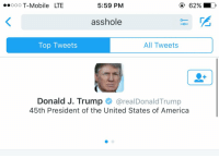 "Funny, T-Mobile, and Lte: Ooo T-Mobile LTE  5:59 PM  asshole  All Tweets  Top Tweets  Donald J. Trump  area Donald Trump  45th President of the United States of America THE FIRST THING THAT POPS UP WHEN U SEARCH ""ASSHOLE"""