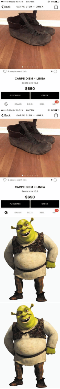 https://t.co/1R37PBuVKi https://t.co/jEumV7kdaa: ..ooo T-Mobile Wi-F  8:47 PM  Back  CARPE M  x LINE A  EDIE 6 people want this  CARPE DIEM  x LINEA  Boots size 10.5  $650  OFFER  PURCHASE  GRAILS  D.C.O  SELL  180  ME   ..ooo T-Mobile Wi-F  8:47 PM  K Back CARPE M  x LINE A  EDIE 6 people want this  CARPE DIEM  x LINEA  Boots size 10.5  $650  OFFER  PURCHASE  SELL  GRAILS  D.C.O  180  ME https://t.co/1R37PBuVKi https://t.co/jEumV7kdaa
