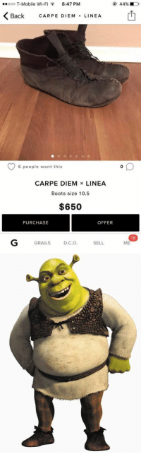 https://t.co/Gf9RtANuEy: ..ooo T-Mobile Wi-F  8:47 PM  K Back CARPE M  x LINE A  EDIE 6 people want this  CARPE DIEM  x LINEA  Boots size 10.5  $650  OFFER  PURCHASE  SELL  GRAILS  D.C.O  180  ME https://t.co/Gf9RtANuEy