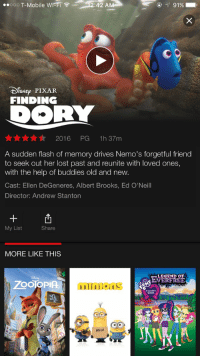 Ellen DeGeneres, Funny, and Pixar: ..ooo T-Mobile wrFi :42 A  91%  CO  DISNEp. PIXAR  FINDING  DORY  Mr Mr Mr 2016 PG  1h 37m  A sudden flash of memory drives Nemo's forgetful friend  to seek out her lost past and reunite with loved ones,  with the help of buddies old and new  Cast: Ellen DeGeneres, Albert Brooks, Ed O'Neill  Director: Andrew Stanton  My List  Share  MORE LIKE THIS  LEGEND OF  ZOOIOPIA  GIRLS  A Di  BELLO FINDING DORY IS ON NETFLIX RT TO MAKE SOMEONES DAY 🐠