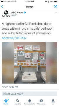 """robocuck: e-cryptid:   lierdumoa:   bizarrodf:  thirdplanet13:  titaniumlegman:  supersoftly:  wokeapedia:   This is creepy as hell holy shit. Mirrors are a fucking tool you dumbasses happy signs don't tell you if your hair's straight or if there's something on your face.   And why only in the girls room? That aspect very much gives off the message that girls are too weak to face life and look at themselves the way boys can.   """"Do I have something in my teeth?""""  """"Fuck you! Body posi!""""  Fucking end me please   Oof   School: We want girls to feel less self conscious about their appearances! Girls: Great. Does this mean you're doing something about the men down the block who catcall us as we walk to school, making us hyperaware that we are being surveilled and judged for our appearances every time we leave our houses? What about the boys sexually harassing us in the halls during breaks?You're gonna do something about them? School: No, we're gonna remove items you use from your bathroom. Girls: Uh, how is that supposed to – School: PROBLEM SOLVED   Half of them are telling them to smile, too, jfc    : ooo Verizon  12:30 PM  Tweet  abc  ABC News  NEWS @ABC  A high school in California has done  away with mirrors in its girls' bathroom  and substituted signs of affirmation.  abcn.ws/20ECt9x  INEXTRA  LORDINAİ  F1  OU'RE DOING  BETTER  THAN YO  THINK!  DAY  IVE  DOIN  TRAN  tell Yourf  Courtesy of Chelsea Maxwell  4/4/17, 10:29 AM  Tweet your reply  Home  Explore Notifications Messages  Me robocuck: e-cryptid:   lierdumoa:   bizarrodf:  thirdplanet13:  titaniumlegman:  supersoftly:  wokeapedia:   This is creepy as hell holy shit. Mirrors are a fucking tool you dumbasses happy signs don't tell you if your hair's straight or if there's something on your face.   And why only in the girls room? That aspect very much gives off the message that girls are too weak to face life and look at themselves the way boys can.   """"Do I have something in my teeth?""""  """"Fuck you! Body posi!""""  F"""