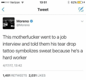 Job Interview, Verizon, and Tattoo: ooo Verizon  13:51  Tweet  Moreno  @Moreno  This motherfucker went to a job  interview and told them his tear drop  tattoo symbolizes sweat because he's a  hard worker  4/17/17, 13:42  1,401 RETWEETS 2,031 LIKES Hittin the grind so hard it kills