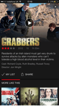 Drunk, Irish, and Zombies: ..ooo vodafone UK  17:10  2196D  GARDA  GRABBERS  Annn2012 15 1h 33m  Residents of an Irish island must get very drunk to  survive attacks by alien monsters who can't  tolerate a high blood alcohol level in their victims.  Cast: Richard Coyle, Ruth Bradley, Russell Tovey  Director: Jon Wright  MY LIST 1 SHARE  MORE LIKE THIS  COCKNEYs  ZOMBIES  CONSUMED  WHAT ARE YOU EATING <p>Residentes de una isla irlandesa deben pillarse una cogorza para sobrevivir a monstruos alienígenas que no pueden tolerar altos niveles de alcohol en sus víctimas.</p>  <p>Con ese resumen&hellip; Must see it</p>