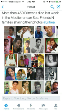 "Africa, Beautiful, and Friends: .oooo T-Mobile Wi-Fi7:10 AM  Tweet  More than 450 Eritreans died last week  in the Mediterranean Sea. Friends N  families sharing their photos #Eritrea·  R.i  ge  Reply to Yoel Lino, Meron Estefanos  Home  Notifications MomentsMessages  Me <p><a class=""tumblr_blog"" href=""http://iphotographlove.tumblr.com/post/145746309603"">iphotographlove</a>:</p> <blockquote> <p><a class=""tumblr_blog"" href=""http://open-plan-infinity.tumblr.com/post/145709454230"">open-plan-infinity</a>:</p> <blockquote> <p><a class=""tumblr_blog"" href=""http://thomas-notrain.tumblr.com/post/145707636537"">thomas-notrain</a>:</p> <blockquote> <p><a class=""tumblr_blog"" href=""http://dynastylnoire.tumblr.com/post/145707305755"">dynastylnoire</a>:</p> <blockquote> <p><a class=""tumblr_blog"" href=""http://noirmujeres.tumblr.com/post/145691939734"">noirmujeres</a>:</p> <blockquote> <p>Didn't even know…..</p> </blockquote> <p>Jesus…..Rip</p> </blockquote> <p>All beautiful people, and yet we heard nothing about it</p> </blockquote> <h2><b>A little context on what they were fleeing from:</b></h2> <p>Eritrea is one of the most repressive countries on earth, regularly referred to as Africa's North Korea. Reporters Without Borders ranks it 179th among 179 countries when it comes to freedom of expression, lower than North Korea itself. </p> <p>Barely anyone is allowed a mobile phone. You need a permit to host a dinner party. A permit to travel to an adjacent village. Writing down a song or poem on a piece of paper could see you jailed for producing anti-government propaganda.  Even reporters for state-run outlets live in constant fear of arrest.  The UN, in a report last year, concluded the population is kept in ""a permanent state of anxiety"".<br/></p> <p>  Extra-judicial killings, torture, enforced disappearances and arbitrary arrest are commonplace. There are at least 10,000 political prisoners in jail to silence political dissent <a href=""http://t.umblr.com/redirect?z=http%3A%2F%2Fwww.aljazeera.com%2Fnews%2Fafrica%2F2013%2F05%2F20135913352747625.html&t=Njg1Nzc5ODEzYjRhNDBjMDE4ODI1ZWU1NWFiMjk2NDc0MGRkMDU4NiwwbjJwN2ZCYQ%3D%3D"">(x)</a><br/></p> <p>There is mandatory indefinite military conscription from ages 18 through to 55 (in a country where life expectancy is 61) where 1 in 20 of the population currently serve.  The regime keeps the state on a war footing so it can conscript citizens into a form of forced labour, spending more time building homes for officials and officers than defending the country. There is also systematic sexual abuse of women in the military and pregnancies are banned.</p> <p>One soldier complained about lack of vacation time and was jailed for two years, where he got one meal a day and one shower a month.   He said ""Hell is better"" than Eritrea <a href=""http://t.umblr.com/redirect?z=http%3A%2F%2Fwww.haaretz.com%2Fisrael-news%2Fthe-north-korea-of-africa-where-you-need-a-permit-to-have-dinner-with-friends-1.463319&t=NTljYzViYmY4OTdkZDgyYWUyMTA1ZTA3NDZhYzI2Yzk5NzQwZDI3NSwwbjJwN2ZCYQ%3D%3D"">(x)</a>. Prisoners are regularly and systematically beaten, bound and tortured.</p> <p>     It accounts for less than 0.1 per cent of its continent's people, yet last year there were more Eritreans arriving in Europe than from any other nation apart from refugees escaping war-torn Syria.  Every month about 5,000 people flee the repressive nation.  <br/></p> <p><a href=""http://t.umblr.com/redirect?z=http%3A%2F%2Fwww.telegraph.co.uk%2Fnews%2Fworldnews%2Fafricaandindianocean%2Feritrea%2F10353511%2FEritrea-the-African-North-Korea-which-thousands-will-risk-anything-to-escape.html&t=MTQ0MTI4M2E1N2M1MzMyOTc3ZTIyZWRmYTg0NDcwOTM4YjQ1NDdkNCwwbjJwN2ZCYQ%3D%3D"">source </a>/ <a href=""http://t.umblr.com/redirect?z=http%3A%2F%2Fwww.channel4.com%2Fnews%2Fafricas-north-korea-why-do-people-flee-eritrea&t=OWE2MzdjOTliMjYxMzU1ZTE3OTJjNjkxZmVkMDA0OGJjNzc5YjU2NCwwbjJwN2ZCYQ%3D%3D"">  source</a> /  <a href=""http://t.umblr.com/redirect?z=http%3A%2F%2Fwww.aljazeera.com%2Fnews%2Fafrica%2F2013%2F05%2F20135913352747625.html&t=Njg1Nzc5ODEzYjRhNDBjMDE4ODI1ZWU1NWFiMjk2NDc0MGRkMDU4NiwwbjJwN2ZCYQ%3D%3D"">source</a> /  <a href=""http://t.umblr.com/redirect?z=http%3A%2F%2Fwww.haaretz.com%2Fisrael-news%2Fthe-north-korea-of-africa-where-you-need-a-permit-to-have-dinner-with-friends-1.463319&t=NTljYzViYmY4OTdkZDgyYWUyMTA1ZTA3NDZhYzI2Yzk5NzQwZDI3NSwwbjJwN2ZCYQ%3D%3D"">source</a> </p> </blockquote> <p>😔</p> </blockquote>"