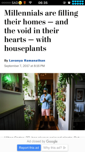 Google, Tumblr, and Millennials: ooooo SAD@  06:35  Millennials are filling  their homes -and  the void in their  hearts -with  houseplants  By Lavanya Ramanathan  September 7, 2017 at 8:16 PM  Ad closed by Google  Report this ad  Why this ad?D gaspack: geodude:  brujoria:  ❤️❤️❤️  I'm screaming this is me  me
