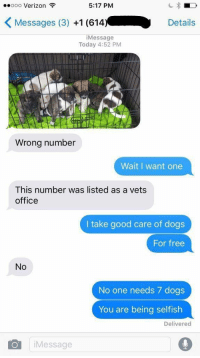 Verizon, Girl Memes, and Selfishness: ooooo Verizon  5:17 PM  K Messages (3)  +1 (614.  Details  i Message  Today 4:52 PM  Wrong number  Wait I want one  This number was listed as a vets  office  I take good care of dogs  For free  No  No one needs 7 dogs  You are being selfish  Delivered  O Message If this isn't me