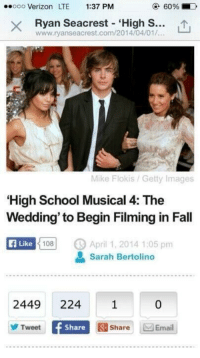 """Is this real life 😍: ooooo Verizon LTE 1:37 PM  X Ryan Seacrest """"High S  www.ryanseacrest.com/2014/04/01/.  Mike Flokis Getty Images  High School Musical 4: The  Wedding' to Begin Filming in Fall  Like  108  April 1, 2014 1:05 pm  a Sarah Bertolino  2449 224 1 0  Tweet  Share R Share Email Is this real life 😍"""