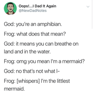 positive-memes:  I'm the littlest mermaid: Oops!...I Dad lt Again  NewDadNotes  God: you're an amphibian  Frog: what does that mean?  God: it means you can breathe on  land and in the water.  Frog: omg you mean I'm a mermaid?  God: no that's not what l-  Frog: [whispers] I'm the littlest  mermaid positive-memes:  I'm the littlest mermaid