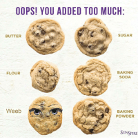oops: OOPS! YOU ADDED TOO MUCH  BUTTER  SUGAR  BAKING  SODA  FLOUR  Weeb  BAKING  POWDER  SUNSPIRE