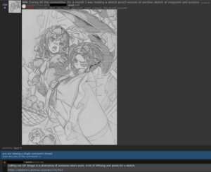 "OP Claims to have spent the past month of quarantine making a ""pencil"" sketch of Konosuba characters when it's just a filter over a picture.: OP Claims to have spent the past month of quarantine making a ""pencil"" sketch of Konosuba characters when it's just a filter over a picture."