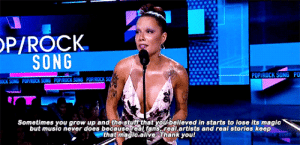 "badsatlove:  ""Most of these awards really aren't what they seem at all. But that's okay, because I'm up here right now. And I am so thankful to the AMAs because they are the world's largest [fan-voted] award show."" @ America Music Awards: OP/ROCK  SONG  POPIROCK SONG PO  POPIROCK SO  POPIROCK SONG  POPIROCK SONG  OCK SONG  Sometimes you grow up and the stuff that youbelieved in starts to lose its magic  but music never does because real fans,real.artists and real stories keep  that magic.allve. Thank you! badsatlove:  ""Most of these awards really aren't what they seem at all. But that's okay, because I'm up here right now. And I am so thankful to the AMAs because they are the world's largest [fan-voted] award show."" @ America Music Awards"