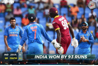 Memes, Cricket, and India: OPE  NDIA  IND 251/4 so  INDIA WON BY 93 RUNS  WI 158/10 38.1 Indian Cricket Team beat Windies by 93 runs in the 3rd ODI and lead the series 2-0