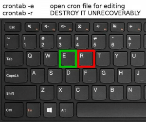 Sometimes it really do be like that: open cron file for editing  DESTROY IT UNRECOVERABLY  crontab -e  crontab -r  Esc  F1  F2  F4  FS5  FG  F7  2  3  4  7  W  E  R  Y  U  Tab  S  D  F  G  A  CapsLk  C  Z  V  N  Shift  Ctrl  Fni  Alt  CO  LO  LL  X Sometimes it really do be like that