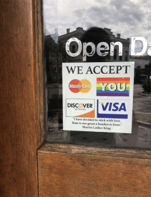 "https://t.co/5HDggXDESM: Open D  a  WE ACCEPT  YOU  MasterCard  VISA  DISCOVER  NETWORK  ""I have decided to stick with love.  Hate is too great a burden to bear.""  Martin Luther King https://t.co/5HDggXDESM"