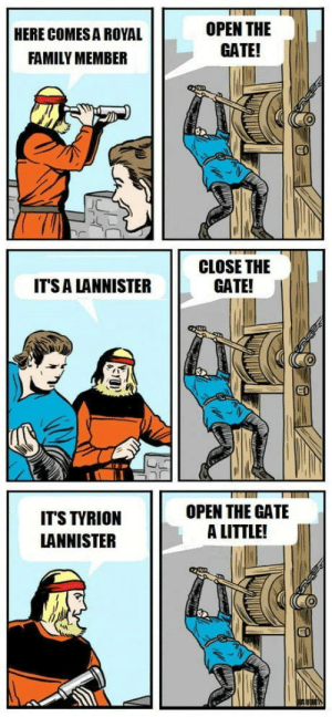 Family, Royal Family, and Winter: OPEN THE  GATE!  HERE COMES A ROYAL  FAMILY MEMBER  CLOSE THE  GATE!  ITS A LANNISTER  EI  OPEN THE GATE  A LITTLE!  IT'S TYRION  LANNISTER  EO The last winter, make it last