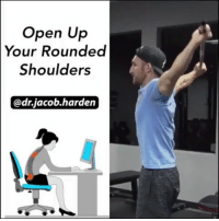 MY DAILY SHOULDER MOBILITY DRILL The shoulder dislocate is a drill I do on the daily. Most of my patients can attest to me grabbing the PVC and doing a few of these while we run through exercises.😅 . It takes the shoulder joint through a full circumduction motion and will help you build and maintain excellent shoulder mobility, making it one of my ☝ top recommendations for anyone sitting at a desk all day as it opens up the thoracic spine and pecs, helping get you out of that kyphotic, rounded shoulders posture. And the best part is, you can do it right at 🏠 home or in the gym with a broomstick, PVC pipe, or band. . I like to warm up the tissues by doing 15 reps of 🙋 one arm up and over at a time and then repeat in the other direction. Then go into the full dislocate where you move 🙆 both arms back and forth. . If you have really tight shoulders, you'll need to start out at the widest grip length or use the band. As your shoulders open up, you can start a bring the hands in. Make sure to keep the ribs ⤵ down so that you create motion only at the shoulder and don't hyperextend the lumbar spine. . Add it into your routine once or twice every day this week and you'll feel much better come Friday. 😄 . 🎵 - Rakeem Miles - A Dollar A Day Prehab101: Open Up  Your Rounded  Shoulders  @dr.jacob.harden MY DAILY SHOULDER MOBILITY DRILL The shoulder dislocate is a drill I do on the daily. Most of my patients can attest to me grabbing the PVC and doing a few of these while we run through exercises.😅 . It takes the shoulder joint through a full circumduction motion and will help you build and maintain excellent shoulder mobility, making it one of my ☝ top recommendations for anyone sitting at a desk all day as it opens up the thoracic spine and pecs, helping get you out of that kyphotic, rounded shoulders posture. And the best part is, you can do it right at 🏠 home or in the gym with a broomstick, PVC pipe, or band. . I like to warm up the tissues by doing 15 reps of 🙋 one arm up and over at a time and then repeat in the other direction. Then go into the full dislocate where you move 🙆 both arms back and forth. . If you have really tight shoulders, you'll need to start out at the widest grip length or use the band. As your shoulders open up, you can start a bring the hands in. Make sure to keep the ribs ⤵ down so that you create motion only at the shoulder and don't hyperextend the lumbar spine. . Add it into your routine once or twice every day this week and you'll feel much better come Friday. 😄 . 🎵 - Rakeem Miles - A Dollar A Day Prehab101