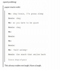 Brains, Mario, and Brain: openlysobbing  paper-mario-wiki:  Me: okay brain, I'm gonna sleep  Brain: okay  Me: so you have to be quiet  Brain: okay  Me:  Brain:  Me:  Brain:  Me: -half asleep-  Brain: the snack that smiles back  Source: drops-of-grace  This always makes me laugh. Have a laugh. Every. Night. https://t.co/UeEgqvopS7