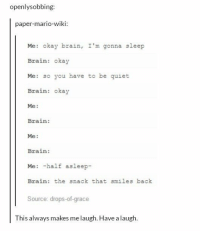 Brains, Memes, and Mario: openlysobbing  paper-mario-wiki:  Me: okay brain, I'm gonna sleep  Brain: okay  Me: so you have to be quiet  Brain: okay  Me:  Brain:  Me:  Brain:  Me: -half asleep-  Brain: the snack that smiles back  Source: drops-of-grace  This always makes me laugh. Have a laugh every. night. https://t.co/3awVZLnfD9