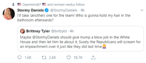 Seriously, what will it take to turn the faithful to the truth?: Openmind67 and norman reedus follow  Stormy Daniels@StormyDaniels 4h  I'll take (another) one for the team! Who is gonna hold my hair in the  bathroom afterwards?  Brittney Tyler @brittybt 4h  Maybe @StormyDaniels should give trump a blow job in the White  House and then let him lie about it. Surely the Republicans will scream for  an impeachment over it just like they did last time  1.6K  t2.6K  18.7K Seriously, what will it take to turn the faithful to the truth?