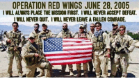 Kip, Memes, and Stephen: OPERATION RED WINGS JUNE 28, 2005  IWILL ALWAYS PLACE THE MISSION FIRST. I WILL NEVER ACCEPT DEFEAT  IWILL NEVER QUIT. I WILL NEVER LEAVE A FALLEN COMRADE Today is the 13th Anniversary of OperationRedWings. 6-28- 05 one of the worst days in special operations history. We will never forget the sacrifice made by the 11 NavySEALs and 8 Army Night Stalkers who gave their lives during this operation. These men exemplified courage and camaraderie and we will never forget. We Honor and Remember: LT. (SEAL) MICHAEL P. MURPHY STG2 (SEAL) MATTHEW G. AXELSON GM2 (SEAL) DANNY P. DIETZ, JR. LCDR (SEAL) ERIK S. KRISTENSEN LT. (SEAL) MICHAEL M. MCGREEVY, JR. ITCS (SEAL) DANIEL R. HEALY FCC (SEAL) JACQUES J. FONTAN ET1 (SEAL) JEFFREY ALAN LUCAS HM1 (SEAL) JEFFREY SCOTT TAYLOR MM2 (SEAL) ERIC SHANE PATTON QM2 (SEAL) JAMES ERIK SUH SSG SHAMUS O. GOARE CWO COREY J. GOODNATURE SGT KIP A. JACOBY SFC MARCUS V. MURALLES MSGT JAMES W. PONDER III MAJ STEPHEN C. REICH SFC MICHAEL L. RUSSELL CWO CHRIS J. SCHERKENBACH