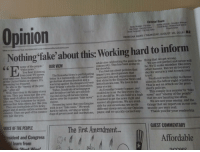 """Children, Community, and Dogs: Opinion  Nothing 'fake'about this: Working hard to inform  Editorial Board  Sandra Johnsrud-Circulation Manager  Randy Rickman-Publisher  Bob Heisse - Executive Editor  Daniel Thompson - City Desk Editor  David Walter-Weekend and Special  Projects Editor  KENOSHA NEWS I THURSDAY, AUGUST 16, 2018 1 B2  Ideas or comments? Call 2626566318 I email newsroom@kenoshanews.com  while also celebrating the good in the  community. This has been going on  for decades.  nemy of the people.""""  thing that we get wrong  We are not perfect and never will  be. We'll make mistakes like every  You hear it coming  from your TV screen  You find out about policies that  other human. But we strive every  The Kenosha News is participating  protection of press freedom and a  dent Trump's attacks on journalism.  developments that  over and over, from the president  of the United States or others. It's  becoming too frequent.  day for accuracy and to earn your  trust.  States or others. It's today in a nationwide call out for the impact you, developments that  surround you and organizations  So who is the """"enemy of the peo- warning against the dangers of Presi that shine in the Kenosha News and  Well, they shop in the same stores  kenoshanews.com. We love to tell  sides on the left or right of politics.  This is not an attack on the presi-  ple,"""" after all?  Today, hundreds of newspapers  your stories.  As Kenosha County's paper, our  credibility is on the line every day  dent's policies.  as you. They pay taxes just like you. and broadcast outlets are publish-  They send children to schools just ing and airing editorials raising  like you. They volunteer for organi alarm over the repeated """"fake news"""" as it should be. We are held to a high news"""" and """"enemy of the people""""  zations that help others just like you. claims  This simply is a counter to """"fake  your enemy, and the  Thank you for your readership.  standard to get the news right and  that we are hearing too """