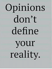Define, Reality, and Opinions: Opinions  don't  define  your  reality