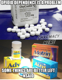 memes new: OPIOIDIDEPENDENCEISAPROBLEM  OxyContin  hydrochloride  controlled-release) a N (100mg  Rx Only  100 Tablets  Purdue Pharma LP  MACY  MEME  New  TARGETS Motrin  Advil  M  ARE  LEFT  NSAID