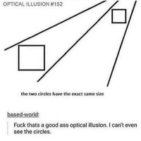 Ass, Memes, and Wow: OPTICAL ILLUSION #152  the two circles have the exact same size  based-world  Fuck thats a good ass optical illusion. I can't even  see the circles wow