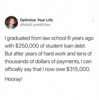 Life, School, and Wow: Optimize Your Life  @MattLaneWrites  I graduated from law school 6years ago  with $250,000 of student loan debt.  But after years of hard work and tens of  thousands of dollars of payments, I can  officially say that I now owe $315,000  Hooray! wow! incredible!