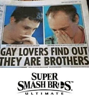 Smashing, Super, and Super Smash: or  fu  GAY LOVERS FIND OUT  THEY ARE BROTHERS  SUPER  SMASH BRS  U L T I M A T E