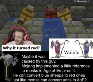 Blue, Age of Empires, and Red: Or Marzia did it  Why it turned red?  Wololo  Maybe it was  caused by this guy.  Mojang implemented a little reference  to monks in Age of Empires II.  He can convert blue sheeps to red ones  just like monks can convert units in AoE2. Just an interesting explanation