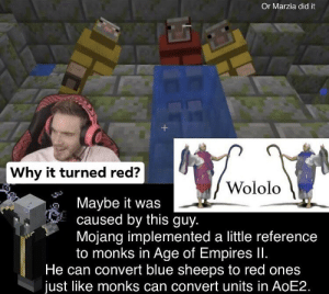 Blue, Been, and Age of Empires: Or Marzia did it  Why it turned red?  Wololo  Maybe it was  caused by this guy.  Mojang implemented a little reference  to monks in Age of Empires II.  He can convert blue sheeps to red ones  just like monks can convert units in AOE2. not sure if this has been posted