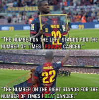 "Abidal ❤️💪 Respect: or  MERCI AB  FP  ""THE NUMBER ON THE LEFT STANDS FOR THE  NUMBEROF TIMES FOUBCANCER  95  ABIDAL  unice  ""THE NUMBER ON THE RIGHT STANDS FOR THE  NUMBER OF TIMES I BEAT CANCER. Abidal ❤️💪 Respect"