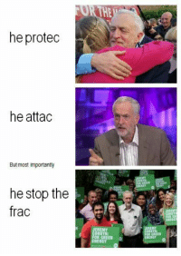 NEW: 📸 instagram.com/political_bible_official 📸: OR THE  he protec  he attac  But most importantly  he stop the  frac  REMY  CORBYN  OR GREEN  ENERGY NEW: 📸 instagram.com/political_bible_official 📸