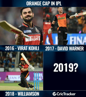 Let us know.: ORANGE CAP IN IPL  HERO  2016- VIRAT KOHLI 2017 DAVID WARNER  2019?  2018 - WILLIAMSON  6CricTracker Let us know.