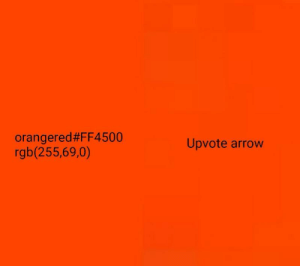 The s o u r c ed: orangered#FF4500  rgb(255,69,0)  pvote arrow The s o u r c ed